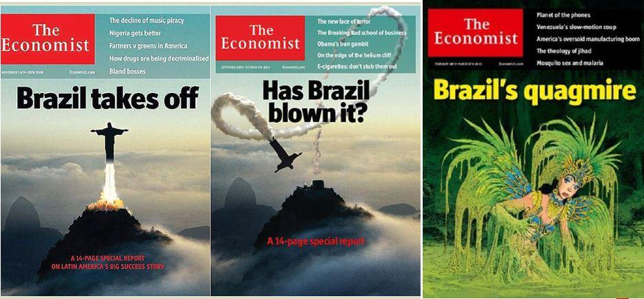 As três significativas capas da The Economist.