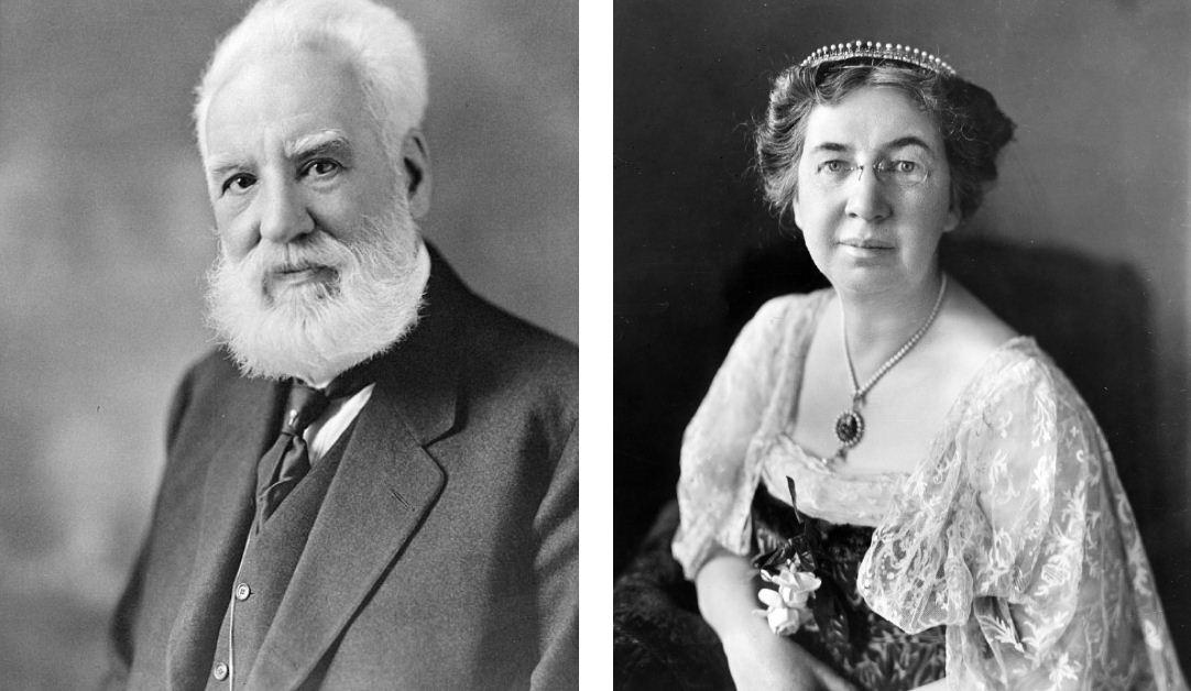 Graham Bell, o inventor do telefone, e sua exposa Mabel Hubbard.